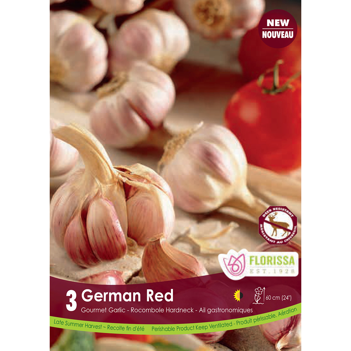 Garlic 'German Red Hardneck' Bulbs 3Pk